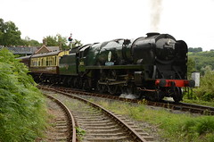 Departing Highley Station (Simon Crowther Photography) Tags: station train t br loco steam locomotive preserved steamengine steamrailway locomotives preservation steamtrain severnvalley svr battleofbritain severnvalleyrailway britishrailways preservedrailway highley branchline 34053 sirkeithpark