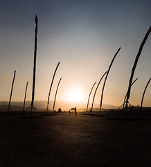 Reeds In The Wind (tristanotierney) Tags: sunset art reed silhouette reeds desert nevada silhouettes sunsets playa burningman blackrockcity brc goldenhour artinstallation 2013 bm13 burningman2013 bm2013