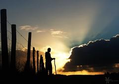 Espectaculo en el cielo, y en primera fila... (ManickX92) Tags: chile sunset sky naturaleza sol nature azul clouds rural atardecer persona landscapes shadows sony sombra paisaje amarillo cielo nubes campo sur sombras siluetas rayos temuco surdechile quilaco novenaregion laaraucania