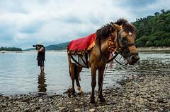 Tourist and his ride (AvikBangalee) Tags: camera red horse water animal river landscape photographer hill pebbles tourist dslr sylhet bangladesh jaflong