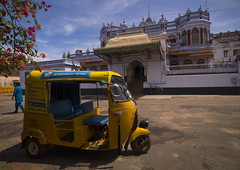 Taxi Rickshaw Parked In Front Of The Chettinad Palace, Kanadukathan Chettinad, India (Eric Lafforgue) Tags: city travel flowers people india house colour tree history bicycle architecture asian outside outdoors hotel ancienthistory asia day quiet place rich bluesky mansion rearview ornate rickshaw luxury tamil thepast tamilnadu oneperson discover luxurious tranquilscene indianart urbanscene traveldestinations colorimage onewomanonly indianculture luxuryhotel chettinad traveldestination indiansubcontinent indiantradition touristicdestination builtstructure indianethnicity oneadult onemidadultwoman yellowrickshaw kanadukathanchettinad chettiarmansion unreconizableperson a0702729