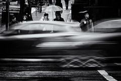 Lost (. Jianwei .) Tags: street motion blur rain vancouver umbrella traffic candid stranger slowshutter crossthestreet kemily nex6