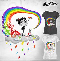 How to paint a rainbow for Threadless. (Baba Yagada) Tags: rain monster painting drops rainbow artist dragon painter threadless tee