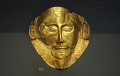 Mask of Agamemnon, c.1550-1500, gold, found in grave shaft V, Grave Circle A in 1876 at Mycenae by Heinrich Schliemann