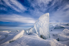 Ice and blue sky (susannevonschroeder) Tags: blue winter sunset snow ice northshore lakesuperior sunsetsky