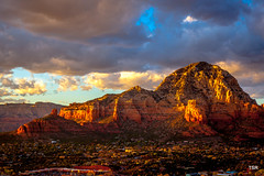 Sedona at sunset (Explore 03/08/14) (doveoggi) Tags: sunset arizona mountain clouds town sedona explore 2883