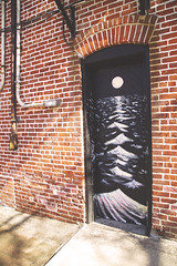 Painted Door (Melissa O'Donohue) Tags: ocean door sea moon streetart ny newyork brick art water night dark cool waves upstatenewyork moonlight laluna newpaltz hudsonvalley ulstercounty