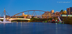 Dusk over the Goodwill Bridge, Brisbane River, Australia (trebandicoot (Lynn)) Tags: bridge museum river dusk cook australia pedestrian brisbane maritime cycle captain tug goodwill forceful impressedbeauty yourbestoftoday infinitexposure