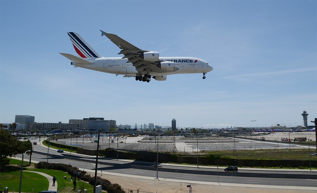 Crow's Eye View - 2014:  Air France A380 (F-HPJC) LAX Final Approach 2