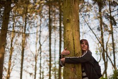 Miranda hugging a tree, it felt much better about things afterwards. (cracurs) Tags: trees green leaves forest canon woodland 50mm bokeh 50mm14 m42 bubble postprocess manualfocus lightroom supertakumar preset primelens manuallens lightroom3 canon5dmk1