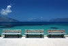 Benches - Facing the wrong way! (Jammer 1970) Tags: travel blue light sea vacation sky cloud mountain holiday beach water island coast turquoise greece benches kefalonia sami ionian karavomylos