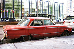 Take A Load Off (Flint Foto Factory) Tags: street city original winter red urban chicago tower classic ford car sedan illinois rust downtown loop sears rusty upper american falcon parked february curb aroundtown willis 1961 compact weary 2010 traveler fomoco chicagoist 4door adamsst jacksonblvd wackerdr worldcars