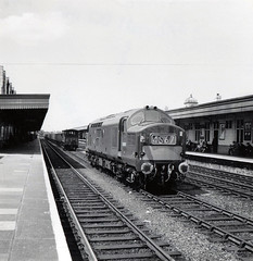 D6987 at Cardiff Station photo noted as taken 28 JUN 1965 (Fred Castor) Tags: 3 english electric cardiff class type 37
