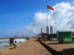 The Sri Lankan flag having a breeze from the indian Ocean!