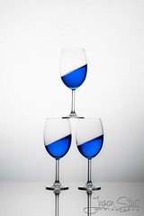 Blue Stack (jasoncstarr) Tags: blue glass canon wine flash tamron trickphotography strobe 2470mm 430exii canoneos70d tamronsp2470mmf28divcusd tamron2470mmf28lens