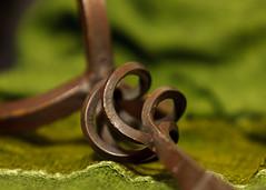 1/24/15 Twirl (Karol A Olson) Tags: stilllife green metal scarf twirl swirl candlestick jan15 project3652014 mdpd2015 115picturesin2015 109swirlorspiral
