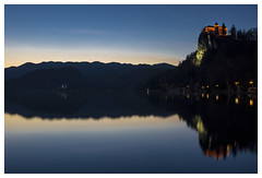 Blue Bled (Philipp Schweighofer) Tags: blue sunset sky lake castle slovenia bled philipp 2014 schweighofer