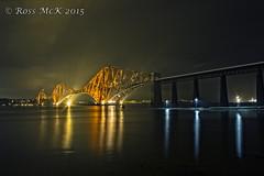 Forth Rail Bridge (Rossco156433) Tags: bridge water night canon lights scotland edinburgh rail railway forth worldheritage firthofforth southquensferry forthestuary theforthrailbridge
