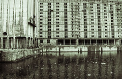 Tobacco Factory lomo (cathbooton) Tags: urban reflection building history water liverpool docks canon lomography industrial factory warehouse canoneos brickwork canonusers