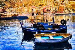 Moorage in the Shadows of Portofino... (LouisAnnImage - The Photography of Howard Brown) Tags: ocean sea italy reflection art water digital boats boat italian marine italia waterfront genoa portofino photoart hdr