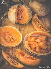 Cantaloupe also Known as Muskmelon (Kashi Klicks) Tags: summer stilllife food green texture yellow healthy natural indoor fresh seeds agriculture melon kashi fruity slices kk cantaloupe muskmelons foodphotography klicks kklicks kashiklicks karbooja