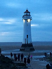 NB Lighthouse (Lydie's) Tags: uk sea people lighthouse beach dusk wirral newbrighton
