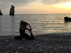 King Pigeon Pose Mermaid Version (Claudia Olla) Tags: sardegna sunset sea beach yoga sardinia iglesias workout fitness nebida yogini purplebeach yogagirl portubanda yogalove kingpigeonpose yogaeverywhere yogaeveryday