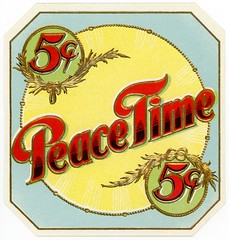 Peacetime Cigar Box Label (Alan Mays) Tags: old blue red green yellow vintage ads paper advertising typography gold antique five circles ephemera cents type labels cigars wreaths advertisements fonts printed borders typefaces corners fivecents cigarboxes peacetime cigarlabels sunbursts numberals cigarboxlabels