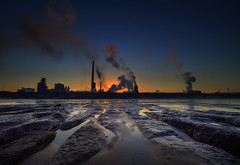 """"""" GET OFF OUR PRIVATE BEACH SAID THE ~ TATA SECURITY GUARDS """" (Wiffsmiff23) Tags: industry sunrise reflections industrial steel tata dramatic security drama epic steelworks traeth porttalbot porttalbotsteelworks morfabeach"""