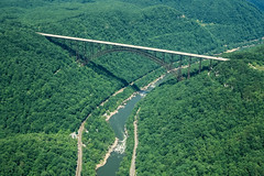 New River Bridge (robertdownie) Tags: road park new bridge usa america forest plane river arch crossing steel air united aeroplane aerial national gorge states fayetteville roadway