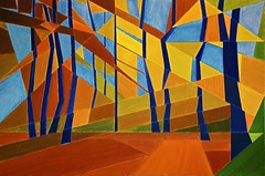 Suddenly Last Autumn In Bursted Woods (bill_giddings) Tags: fineart modern modernfineart woodlandlandscape landscape oilpainting oncanvas geometricstyle cubist surreal abstract artdeco artnouveau impressionist postimpressionist modernart woodland forest trees foliage paths colour blue reds browns yellows perspective lightandshade illumination