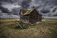 Weather The Storm (Stubble Jumper Photography) Tags: house storm abandoned home rain clouds alberta prairie dilapidaded