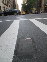 Two Fresh New Toynbee Tiles on 5th Ave 1376 (Brechtbug) Tags: street new york 2001 city nyc two white streets west up june st by corner dead idea bars theater cross traffic walk manhattan district under pedestrian pop fresh severino midtown made tiles ave planet ready commuter jupiter kubricks patch seventh avenue 5th toynbee named verna tar crumbling fifth sevy thirty possibly 37th reclusive 2016 resurrect philadelphian 06172016