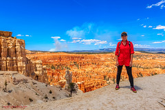 Paula at Bryce Point, Bryce Canyon NP (mikerhicks) Tags: travel usa southwest nature geotagged outdoors photography utah spring unitedstates desert hiking adventure event backpacking bryce brycecanyon marblecanyon brycecanyonnationalpark brycepoint onemile geo:country=unitedstates geo:state=utah camera:make=canon exif:make=canon exif:aperture=16 geo:city=bryce exif:lens=1835mm exif:isospeed=100 exif:focallength=19mm canoneos7dmkii camera:model=canoneos7dmarkii exif:model=canoneos7dmarkii sigma1835f18dchsma geo:lat=3760447667 geo:lon=11215515667 geo:lon=11215527833333 geo:lat=37604445 geo:location=brycecanyon