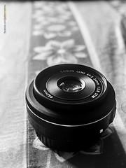 My favorite pancake (mahidoes) Tags: camera glass monochrome canon lens prime pancake 24mm stm stillife dslr optic