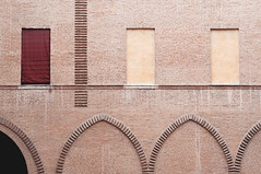 FE #9 (MaraFemia) Tags: street city pink windows light red urban italy orange white castle texture yellow wall architecture facade court pattern arch bricks atmosphere surface tent ferrara