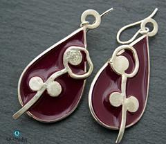 Flower_resin_quimeratelier (Quimera Atelier) Tags: resin silverjewelry silverearrings iceresin flowerjewelry handcrafted burgundy