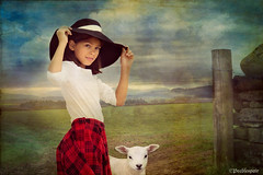 BoPeep (Peeblespair) Tags: portrait child lakedistrict lamb bopeep strawhat younggirl nurseryrhyme conceptualportrait peeblespairphotography