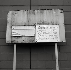 Oregon City (austin granger) Tags: sign peeling time decay parking communication mind font impermanence weathered fading meaning legibility oregoncity disappearing comprehension gf670 austingranger