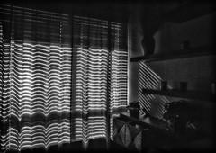 Interior Peace (Anne Worner) Tags: blackandwhite bw plants sun vertical contrast dark mono shadows interior stripes room decoration restful shades diagonal indoors inside shining shelves knickknacks vases noire sidelight niksilverefex anneworner
