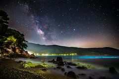 Milky Way rises over the wavy sea (Vagelis Pikoulas) Tags: sea summer sky beach june rock night canon way stars landscape star rocks europe long exposure waves nightscape space wave tokina greece galaxy universe milky milkyway 6d 2016 1628mm
