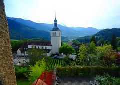 Green Valley at Gruyeres, Switzerland (` Toshio ') Tags: mountain alps green church outdoors switzerland vineyard europe european swiss gruyeres toshio xe2 fujixe2