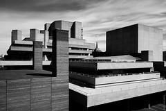 Southbank Architecture (Ian Smith (Studio72)) Tags: uk england blackandwhite bw building london geometric monochrome architecture contrast buildings mono shadows perspective nb southbank bnw nationaltheatre corners rx100 studio72 modernlondon sonyrx100