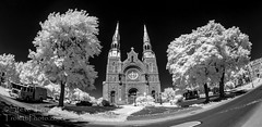 Basilique Sainte-Anne de Varennes - IR (Steve Troletti Nature & Wildlife Photographer) Tags: trees bw white fish eye cars church sunshine truck dark lens ir fire spring nikon god outdoor invisible mary jesus sunny fisheye virgin camion pollution vegetation infrared boucherville nikkor eglise babyjesus lense polution pompiers varennes opteka samyang infrarouge rokinon firemene grandmontreal