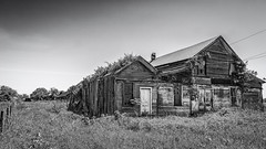 Old Store In Egypt (Mike Schaffner) Tags: old blackandwhite bw abandoned monochrome fence us blackwhite wooden store weeds texas unitedstates egypt derelict wharton