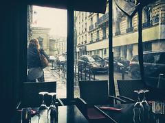 """No Umbrella"" (helmet13) Tags: street people woman paris rain restaurant snapshot catsdogs aoi 100faves peaceaward heartaward world100f iphone6s"