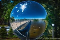 Sphere Reflection (Classicpixel (Eric Galton) Photography Portfolio) Tags: bridge sky ontario canada reflection water river landscape nikon eau ottawa 360 rivire ciel sphere pont paysage vanier hdr d800e classicpixel ericgalton nikon200500 adawecrossing