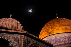 The Moon over the blessed al-Aqsa Mosque (TeamPalestina) Tags: heritage beautiful architecture sunrise hope amazing photographer sweet palestine jerusalem domeoftherock blockade ramadan freepalestine alaqsa palestinian occupation goldendome  oldcityjerusalem landscapecaptures