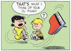 That's what I think of your ol' piano! (Tom Simpson) Tags: illustration vintage comics piano peanuts 1954 1950s angry comicstrip charliebrown charlesschulz frustration schroeder frustrated charlesmschulz lucyvanpelt newspapercomics