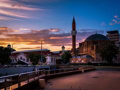 Sofia Mosque at Sunset (sfabisuk) Tags: city pink sunset orange clouds amazing exposure sofia sony vivid pop bulgaria stunning